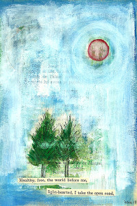 """""""Open Road"""" — ©2013 Elka Eastly Vera mixed media on vintage book page, 6 x 9 inches"""